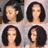 Fureya Short 13x6 Lace Front Human Hair Wigs Pre Plucked With Baby Hair Curly Brazilian Remy Hair Lace Front Bob Wigs 150 density 14 inch