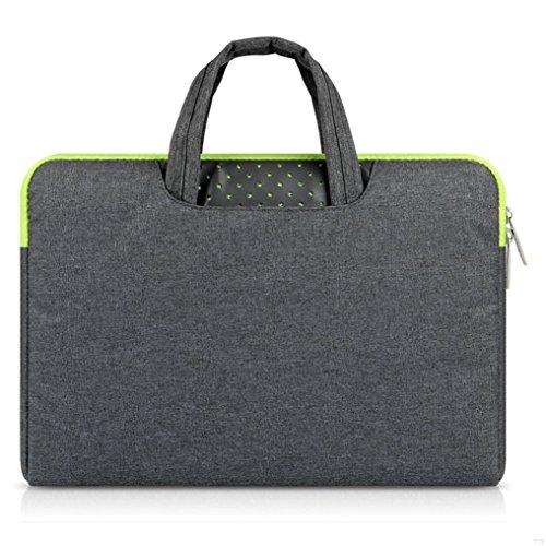 GADIEMENSS Water-resistant Laptop Sleeve Case Bag Portable Computer handbag For Apple Macbook Air and other Notebook 11.6 inches Deep Gray & Green Zipper