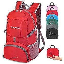 ZOMAKE Sac à Dos Compact 35L, Sac à Dos Pliable Léger, Sac de Randonnée pour Homme Femme Sports et Plein air (Rouge)