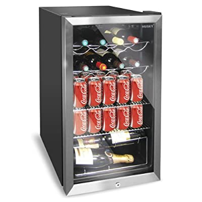 Husky HUS-HM39 Chrome Door Effect Personal Wine Refrigerator/Chiller, 150 Litre, Black by Husky
