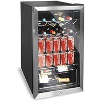 Husky HUS-HM39 Chrome Door Effect Personal Wine Refrigerator/Chiller, 150 Litre, Black