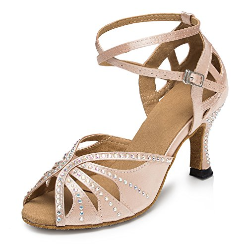 Miyoopark ,  Damen Tanzschuhe, beige - Nude-7.5cm Heel - Größe: 41 Low Heel Satin-heels