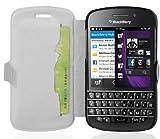 Cadorabo Hülle für BlackBerry Q10 - Hülle in ICY WEIß – Handyhülle mit Standfunktion & Kartenfach im Ultra Slim Design - Case Cover Schutzhülle Etui Tasche Book