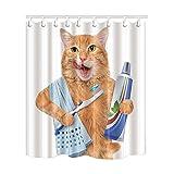 KOTOM Animal Decor Duschvorhang Putzen die Zähne Katze mit Handtuch lustige Design Stoff Wasserdicht Badezimmer Vorhänge und 12Haken Frei, 69x 70Zoll