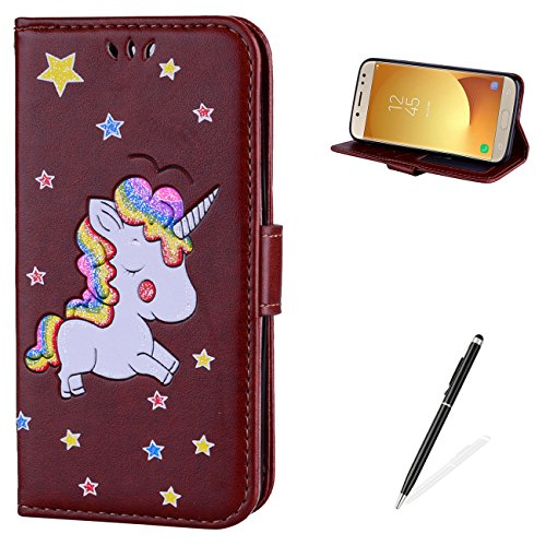 MAGQI For Samsung Galaxy J330/J3 2017 PU leder Wallet Brieftasche Hülle,Viele Farbe Unicorn Muster mit Magnetverschluss Flip Book Style Cover [with Free Touch Pen] -Braun