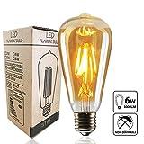 LED Edison Lampen,LED Filament Glühlampen KUXIEN  E27 Vintage LED Glühlampe Glühbirne Retro Lampe für Nostalgie Antik Beleuchtung Dekoration, Warmweiß, 6W 220V [Energieklasse A+]