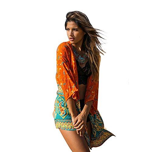 Damen Sommer Chiffon Strandkleid im farbenfrohen Kimono-Look als bequemes und luftiges Long Shirt oder Strandbluse mit halblangen Ärmeln über einem Bikini zu tragen (CP-CF) (Orange) (Tragen Kimono)