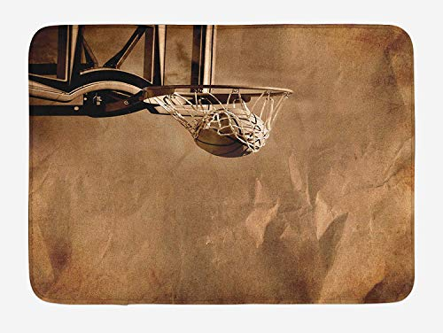 ARTOPB Basketball Bath Mat, Ball in The Net on Crumpled Paper Style Backdrop Scoring Sports Competition Print, Plush Bathroom Decor Mat with Non Slip Backing, 23.6 W X 15.7 W Inches, Sepia (Dye In Hair Spray)