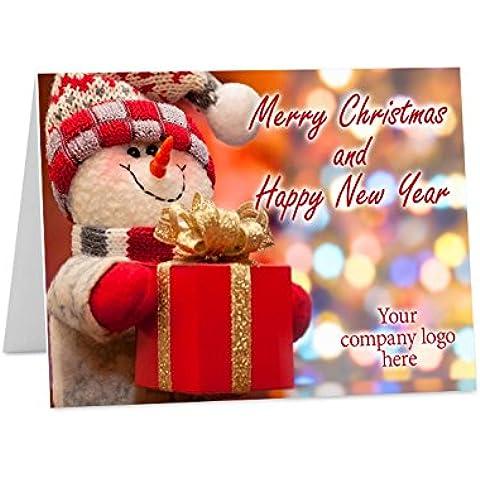 10x personalizado Navidad año nuevo tarjetas de felicitación DIN A6doblado empresarial logotipo de la empresa