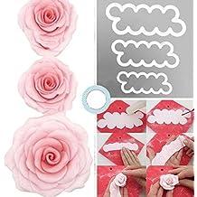 Gemini_mall® 3 stampi decorativi fai da te per rose 3D, taglia petali di rosa in glassa per torte o biscotti
