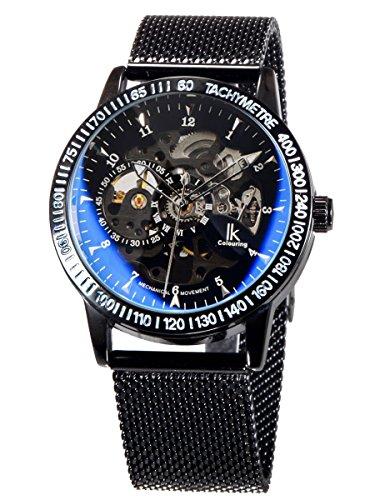 Alienwork Reloj Mecánico Automático Relojes Automáticos Hombre Mujer Acero Inoxidable Negro Analógicos...