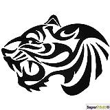 Tiger Tribal Raubkatze Wandtattoo ca 60 cm Aufkleber Decal von SUPERSTICKI® aus Hochleistungsfolie geplottet,freigestellt ohne Hintergrund für alle glatten Flächen UV und Waschanlagenfest Profi Qualität