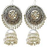 #8: Tripti Afgani Tribal Boho Silver Large Chandbali Earrings with Jhumki for Women and Girls