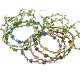 Soleebee 7 Pezzi Corona Floreale Fiore Corona Ragazza Multicolore Bohemian Foreale Ghirlanda Copricapo Fascia per Capelli per la Festa di Compleanno Matrimonio Sposa Damigella d'Onore