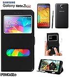 COQUE ETUI POCHETTE HOUSSE FOLIO 2 FENÊTRES Samsung Galaxy Note 3 Neo , Note 3 Lite - Décrochage Rapide - CONTOUR INTÉRIEUR SILICONE INCASSABLE ( Non Compatible NOTE 3 )