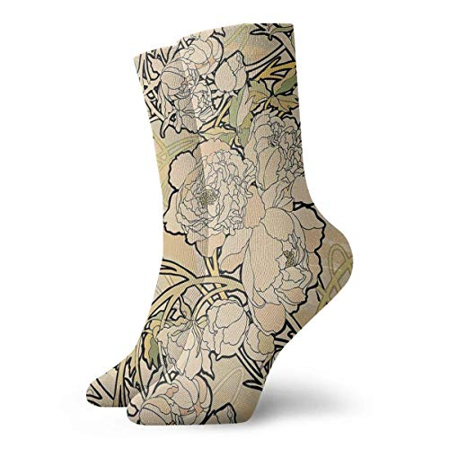 Jxrodekz Art Nouveau Flowers Crew Socks Funny Novelty Thin Casual Sport Comfort Work 11.8