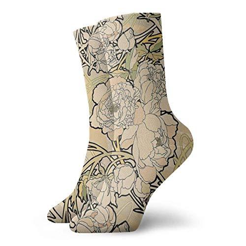 Nouveau Füße (Jxrodekz Art Nouveau Flowers Crew Socks Funny Novelty Thin Casual Sport Comfort Work 11.8
