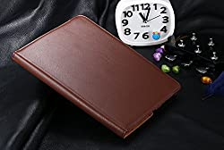 Aavjo 360 Degree Rotating PU Leather Flip Case cover For Apple iPad 2 / iPad 3 / iPad 4 - Dark Brown + Free Cable Organiser