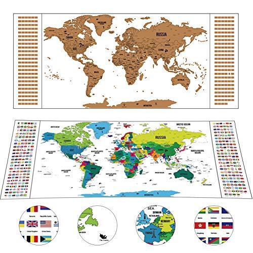 Weltkarte zum Rubbeln als schöne Erinnerung an Reisen Deluxe Personalisierte Weltkarte Poster Weiß Rubbel Landkarte Geschenkverpackung 94 x 40 cm -