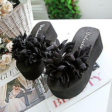 zhENfu donna pantofole & amp; flip-flops estate pu outdoor casual tacco piatto fiore bianco Nero Fuchsia Black