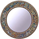"""Wall Mirror Decorative For Living Room, Bed Room - Antique Gold Crackled Glass, 24"""" Round"""