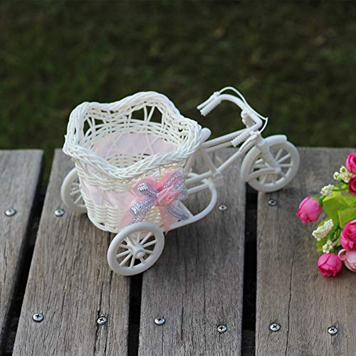 Gaddrt grande rattan triciclo bike flower basket vase storage party decor per contenere fiori, caramelle, piccoli regali, carte confetti (a)