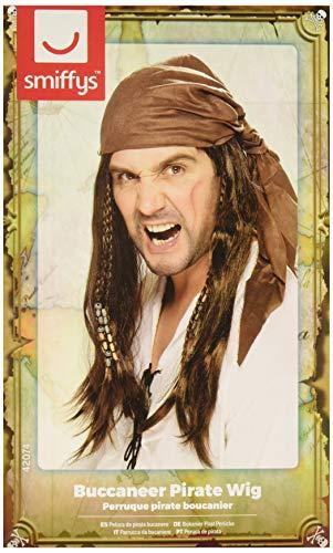 Smiffys, Herren Piraten Perücke mit Perlen und Kopftuch, One Size, Braun, 42074