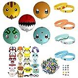 Totem World Lot de 343 Accessoires de fête pour fête à thème Pokémon avec Ballons inspirés de Pokémon, Bracelets, gommes et Accessoires
