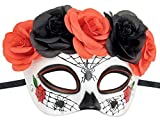 Mujeres Mexicano Day of The Dead Dia de los Muertos Máscara Azúcar Araña Flor Halloween Mardi Gras Glitter Fantasía Fiesta Máscara (Araña)
