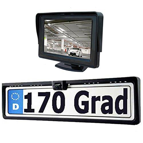 Mvpower Set Completo Di Sensore Retromarcia E Parcheggio Wireless, 4.3'' Monitor LCD A Colori Con Telecamera Porta Targa Impermeabile IP67