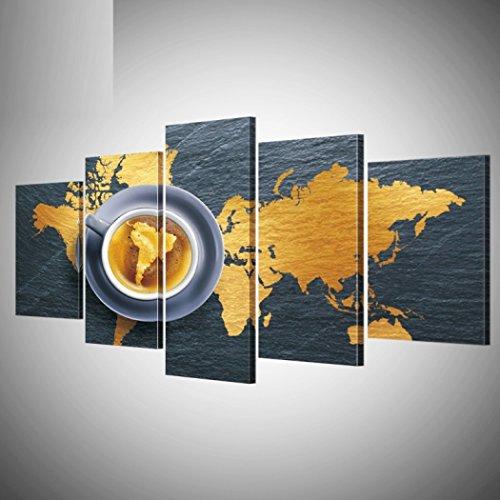 GY&H 5 Stücke von abstrakten Gemälden Kunst Kaffee Karte Europa Drucke auf Leinwand Wohnzimmer dekorative Malerei Wand Kunst Malerei,Size1