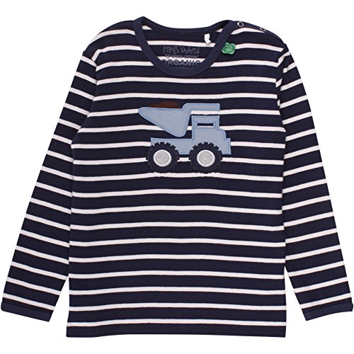 Fred's World by Green Cotton Baby-Jungen T-Shirt Bulldozer Stripe T Baby, Blau (Navy/Cream 019800002), 86 (Cotton Herren Stripe)