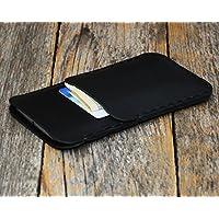 Negro Estuche Billetera Funda De Cuero para iPhone X con bolsillos para tarjetas de crédito. Estuche de manga. Cosido a mano.