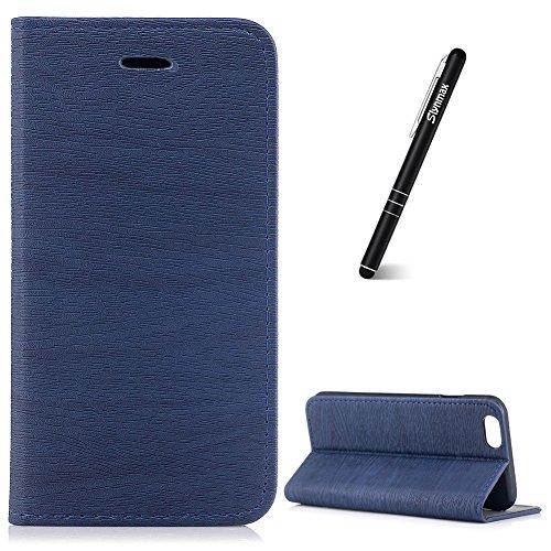 Coque iPhone 6/6s Bleu,Etui iPhone 6/6s Portefeuille,Slynmax Étui en PU Cuir [Motif D'arbre] Case avec Porte-carte Fermoir Magnétique Support avec TPU Silicone Coque pour Apple iPhone 6/6s -Retro