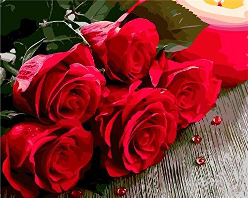 (YEESAM ART Neuheiten Malen nach Zahlen Erwachsene Kinder, Rot Rose grün Blätter Wassertröpfchen 40x50 cm Leinen Segeltuch, DIY ölgemälde Weihnachten Geschenke)