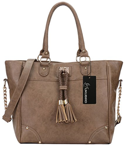 Kukubird Ladies In Pelle Di Design Stile Grande Nappa Dettagli Grande Tote Bag Shoulder Satchel Handbag Khaki