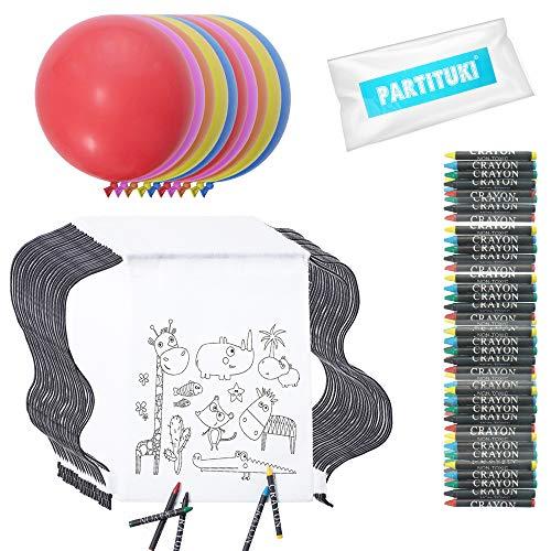 Partituki 20 Coloring Rucksäcke mit 20 Sets aus 5 Wachsen. Enthält 10 Riesige Partydekorationsballons. Ideal für Kindergeburtstag Details