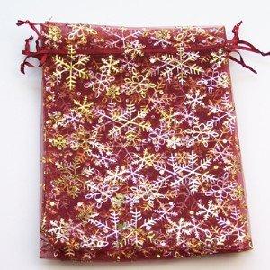10pezzi ghiaccio Sacchetti regalo in organza, 17x 23cm-rosso scuro-d0120