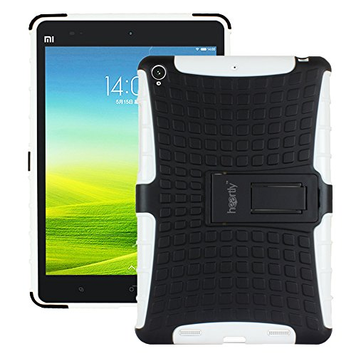 Heartly Flip Kick Stand Spider Hard Dual Rugged Armor Hybrid Bumper Back Case Cover For Xiaomi Miui Mi Pad 7.9 - Best White