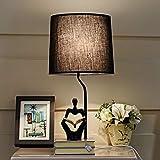Led Lampe de table Rétro Lampe De Table Pour Salon Chambre Lumière Lecture Hommes Résine Lampe De Bureau Tissu Abat-Jour Éclairage À La Maison Abajour, interrupteur tactile