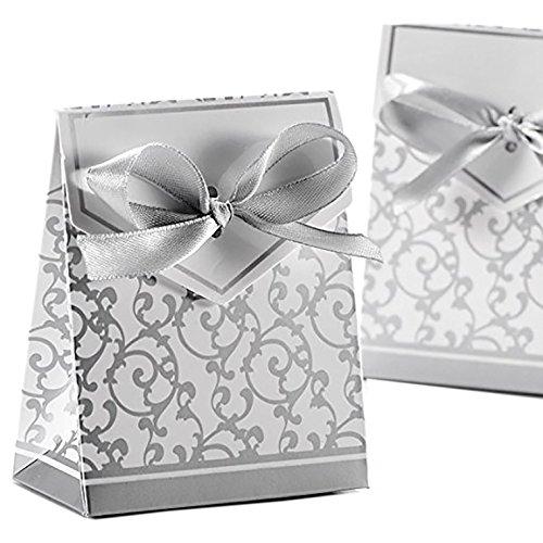 k-Boxen mit Seidenband für Party Hochzeit Bevorzugungen, Candy Box für Hochzeiten, Geburtstage, Brautschmuck und Baby Duschen silber (Brautjungfer-geschenk-boxen)