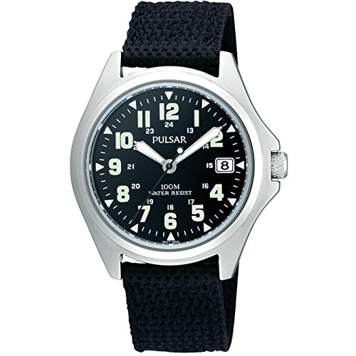 Pulsar Mens Black Canvas Strap PS9045X1