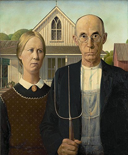 Das Museum Outlet-Grant Holz-American Gothic, gespannte Leinwand Galerie verpackt. 29,7x 41,9cm - American Leinwand