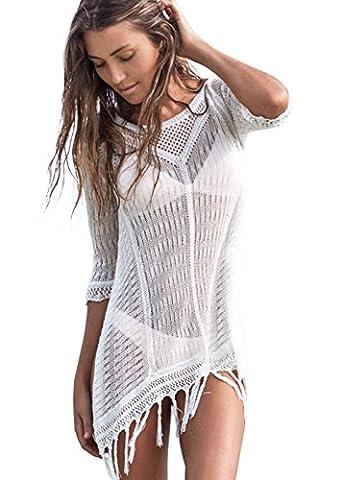 ANPI Knitted Beach Kleid, Stylish Crochet Tassel Beachwear Bikini Badeanzug