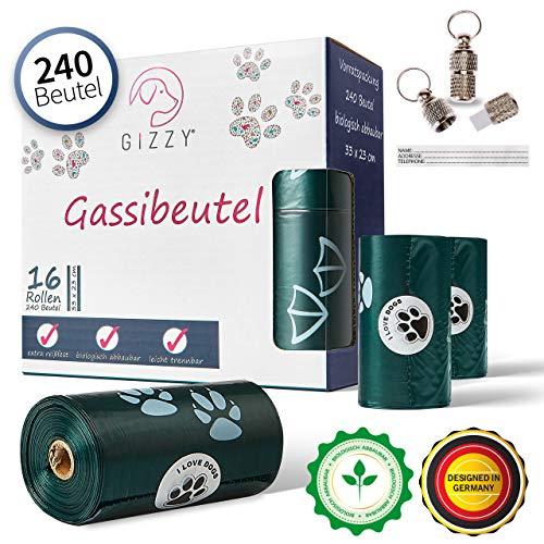 GIZZY® Premium Hundekotbeutel Biologisch Abbaubar inkl. Gratis Adressanhänger I 240 Kotbeutel für Hunde   Dog Poo Bags