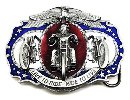 LIVE TO RIDE - RIDE TO LIVE BIKER BELT BUCKLE (FREE PRESENTATION BOX)