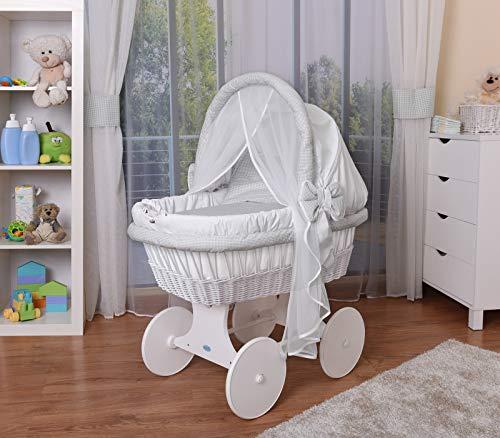WALDIN Baby Stubenwagen-Set mit Ausstattung,XXL,Bollerwagen,komplett,44 Modelle wählbar,Gestell/Räder weiß lackiert,Stoffe weiß/kariert