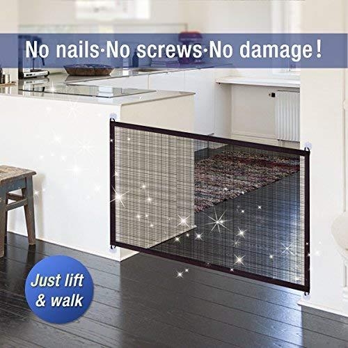 Namsan Magic Gate für Hunde-Magic Gate Pet Sicherheit Tor tragbar Pet Isolation Net Sicherheit Guard für Haustiere Hund Katze, schwarz -