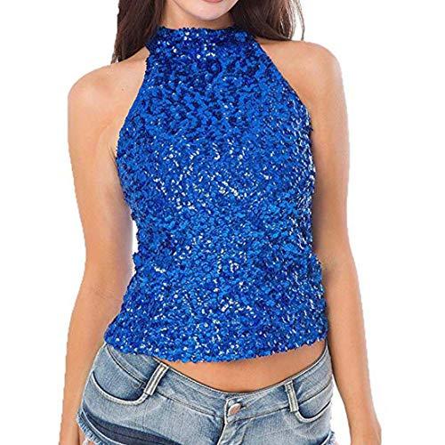 Yvelands Damen Weste Tank Tops Shimmer Flashy Alle Pailletten verschönert Sparkle T-Shirt(One Size,Blau)