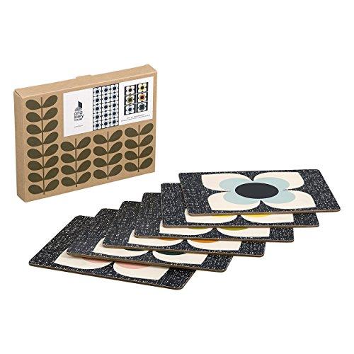 Orla Kiely   Lot de 6 sets de table   Scribble Square Flower Design   Résistant à La Chaleur